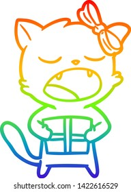 rainbow gradient line drawing of a cartoon cat with christmas present