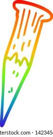 rainbow gradient line drawing of a cartoon bloody vampire stake