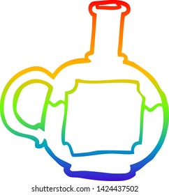 rainbow gradient line drawing of a cartoon of potion bottle