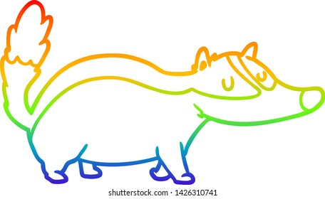rainbow gradient line drawing of a cartoon badger