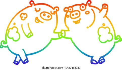 rainbow gradient line drawing of a cartoon pigs dancing
