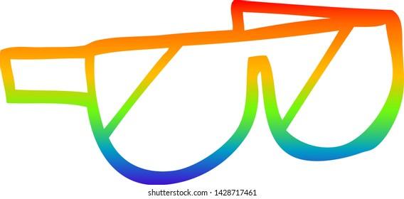 rainbow gradient line drawing of a cartoon sunglasses