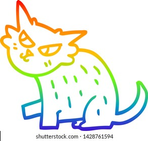 rainbow gradient line drawing of a cartoon sly cat