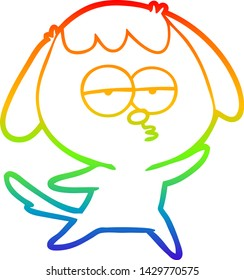 rainbow gradient line drawing of a cartoon bored dog