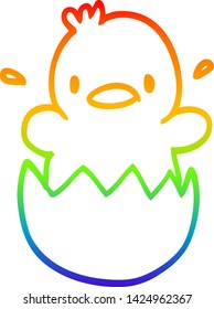 rainbow gradient line drawing of a cute cartoon chick