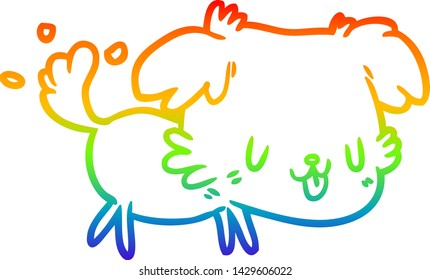 rainbow gradient line drawing of a cute dog wagging tail