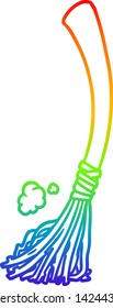 rainbow gradient line drawing of a halloween witches broom