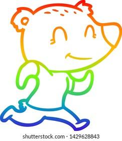 rainbow gradient line drawing of a healthy runnning bear cartoon
