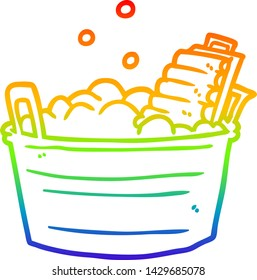 rainbow gradient line drawing of a old laundry washboard and bucket