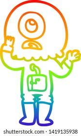 rainbow gradient line drawing of a worried cartoon cyclops alien spaceman