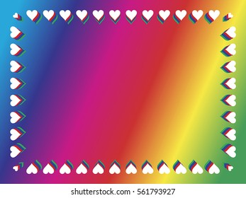 Rainbow gradient valentine background with border of hearts.