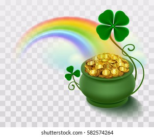 Rainbow, green leaf lucky clover and pot full of gold. Vector illustration of transparent background