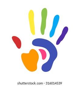 rainbow handprint. rainbow colors of a human hand and fingers