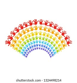 Rainbow of handprints. Color silhouette on white background.