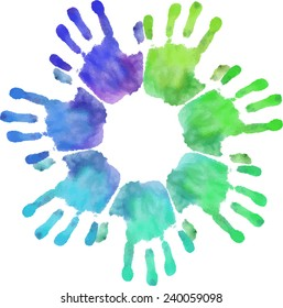 Rainbow handprints. Watercolor template. Vector illustration. Decorations for the annual Holi festival