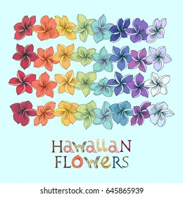 Rainbow hawaiian flower lei set. Plumeria leis in different colors with lettering.