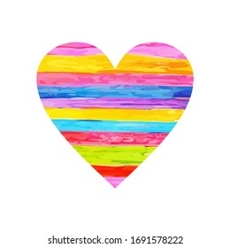 rainbow heart. Children's drawing with colored watercolor pencils. Vector illustration