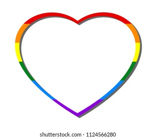 Rainbow heart frame, colors of LGBT pride flag, symbol of lesbian, gay, bisexual, transgender, and queer/questioning (LGBTQ). Vector illustration, EPS 10, isolated on white (transparent) background.