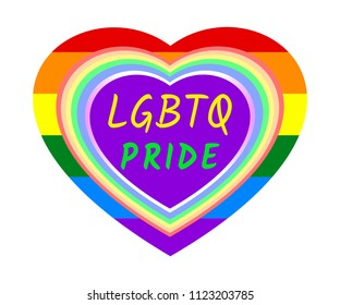 Rainbow heart frame and LGBTQ PRIDE word over rainbow striped heart, the colors of LGBT pride flag, symbol of lesbian, gay, bisexual, transgender, and queer/questioning (LGBTQ). Vector illustration.