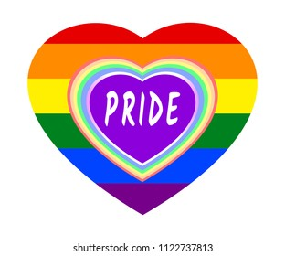 Rainbow heart frame and PRIDE word over rainbow striped heart, the colors of LGBT pride flag, symbol of lesbian, gay, bisexual, transgender, and queer/questioning (LGBTQ). Vector illustration, EPS 10.