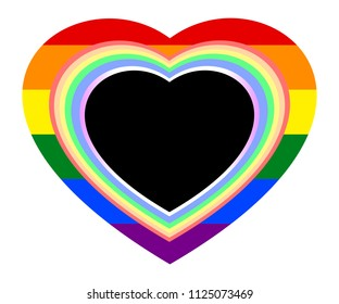 Rainbow heart frames on rainbow striped heart, colored symbol of LGBT pride flag or LGBTQ (lesbian, gay, bisexual, transgender, and queer/questioning). Vector illustration. Love, valentines concepts.