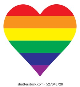 Rainbow heart, Heart icon, lgbt color . symbol of homosexual love, Vector illustration. Lgbt community sign ,isolated on white background.