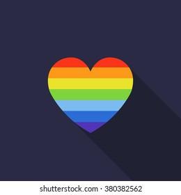 rainbow heart. LGBT community symbol. vector illustration
