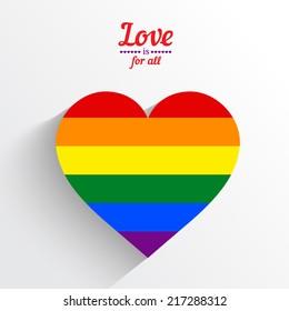 Rainbow heart love logo icon. Vector illustration.