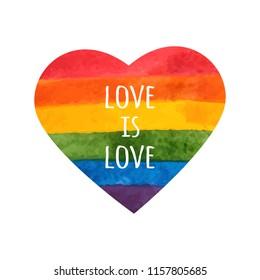 Rainbow heart. Love is love - pride slogan. LGBT heart. Hand painted rainbow. Tolerance day card. Vector illustration.