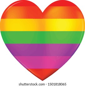 Rainbow heart love symbol icon with colorful vector