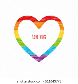 Rainbow heart with love wins inscription. Sketch pencil drawing. Vector doodles. LGBT flag, symbol of peace, gay culture. Valentine's Day card.