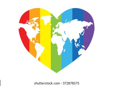 Rainbow heart with a map of the world - world day