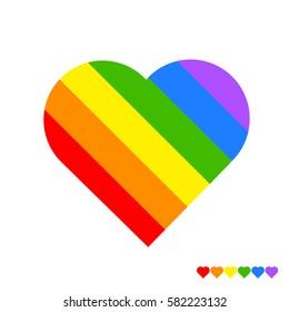 Rainbow heart on white background. LGBT community symbol. Vector illustration.
