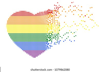 Rainbow heart shape of flying colorful dots on white (transparent) background. Colors of LGBT pride flag, symbol of lesbian, gay, bisexual, transgender, and questioning (LGBTQ). Vector illustration.