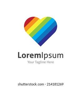 Rainbow heart shape love vector logo icon