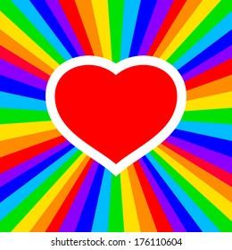 rainbow heart - vector illustration