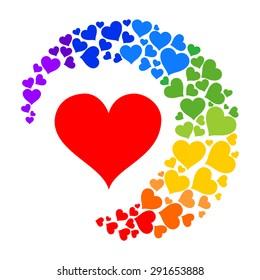 rainbow heart.  Vector illustration.