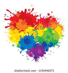 Rainbow heart / Vector illustration, LGBT movement symbol