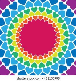 Rainbow hearts background. Abstract vector rainbow pattern. Rainbow vector colors.