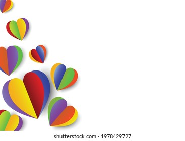Rainbow hearts isolated on white background.Colorful set of LGBTQ+ pride month concept.