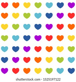 Rainbow hearts seamless  pattern. Valentines day background. Vector illustration.
