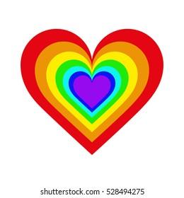 rainbow hearts set vector
