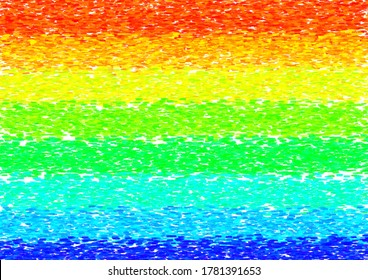 Rainbow, homosexual, rainbow colored flag, sign, symbol in artistic, arty, impressionist style. Vector illustration, background, texture, backdrop, wallpaper. Digital painting, avantgarde, modern.