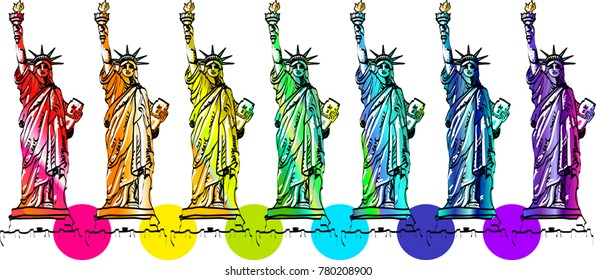 Rainbow homosexual Statue of Liberty USA