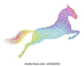 Rainbow horse jumping on a white background