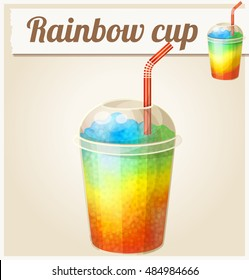 Rainbow ice cup (Frozen drink). Cartoon vector icon. Series of food and ingredients for cooking.