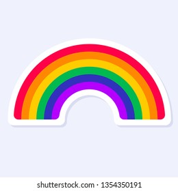 Rainbow Icon. LGBTQ+ related symbol in rainbow colors. Gay Pride. Raibow Community Pride Month. Love, Freedom, Support, Peace Symbol. Flat Vector Design Isolated on White Background