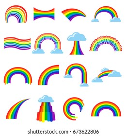 Rainbow icon and pictogram set. Seven-colour bright image in the sky with clouds, symbol of LGBT pride. Rainbow vector flat style illustration isolated on white background