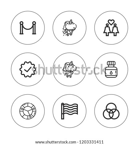 Rainbow Icon Set Collection 9 Outline Stock Vector Royalty Free