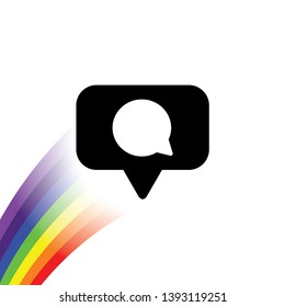 Rainbow with an icon - Social Media Bubble